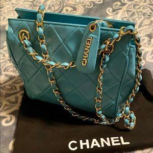 💙CHANEL😍Mini Matelasse Light Blue Lambskin Bag